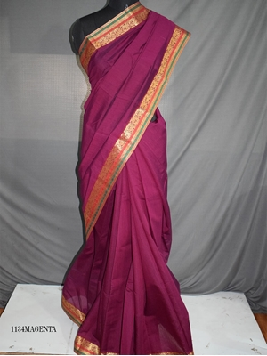Picture of 1134 Magenta Colored Mono Cotton Saree