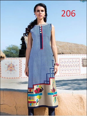 Picture of 206Royal Blue and Multicolor Printed Designer Kurti