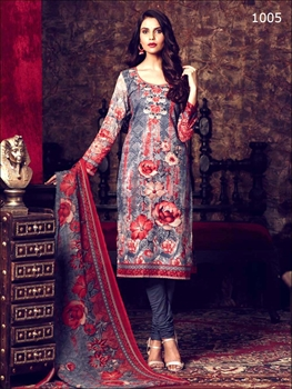 Picture of 1005Gray and Red Printed Straight Suit