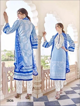 Picture of 1806Sky Blue and White Designer Straight Suit
