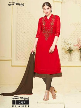 Picture of 2587 Red Latest 2 in 1 Designer Suit