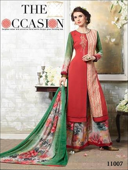 Picture of 11007Red and Ivory latest designer plazo suit