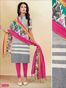 Picture of 30015white and Pink Summer Wear Straight Suit