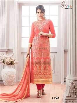 Picture of 1194Light Red Exclusive Semistitched Designer suit
