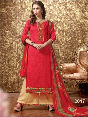 Picture of 2017Red Designer Unstitched Straight Suit