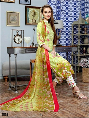 Picture of 005Olive Green Designer Unstitched Pakistani Suits