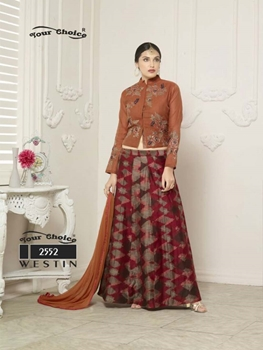 Picture of 2552 Brown Red Designer Lehenga Choli