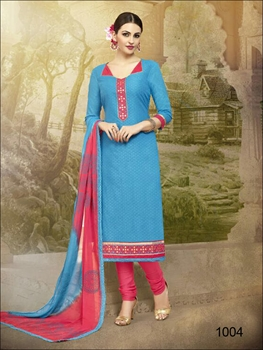 Picture of 1004Firozi Blue Designer Unstitched Straight Suit