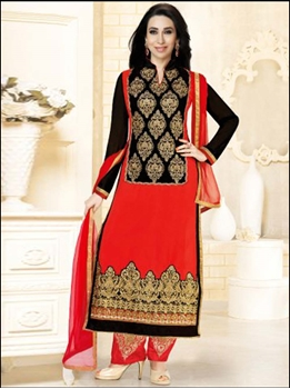 Picture of 5182Tomato Red and Black Straight Suit