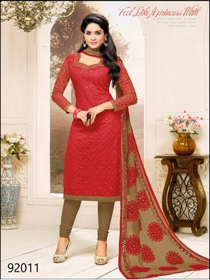 Picture of 92011Red and Brown Fancy Designer Salwar Suit