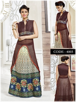 Picture of 4003Bole Brown Exclusive Wedding Wear Lehenga Choli