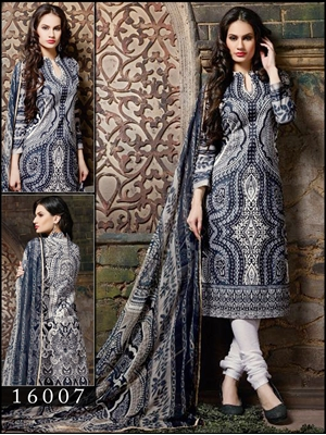 Picture of 16007White and Dark Blue Designer Occasional Wear Straight Suit