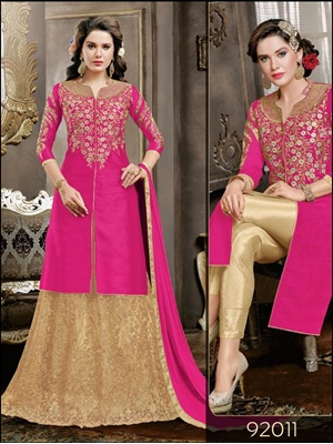 Picture of 92011Bright Pink Designer Straight Suit
