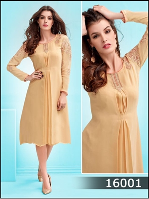 Picture of 16001Beige Designer Party Wear Straight Kurti