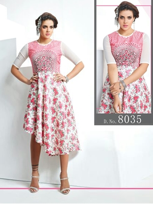 Picture of 8035 White And Pink Designer Stitched Kurti