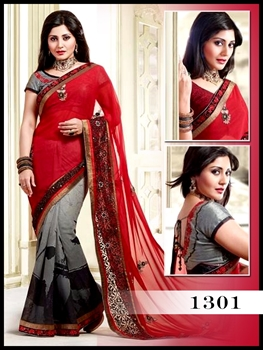 Picture of 1301Red and Grey Designer Saree