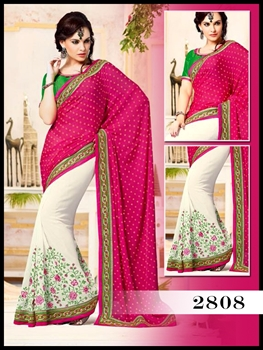 Picture of 2808 Rani Pink And White Designer Saree