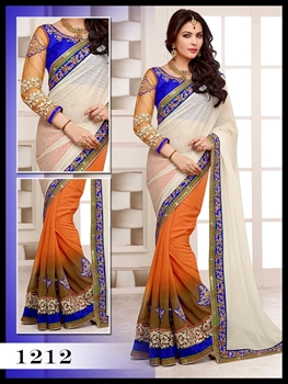Picture of 1212Royal Blue And Off White orange Designer Saree