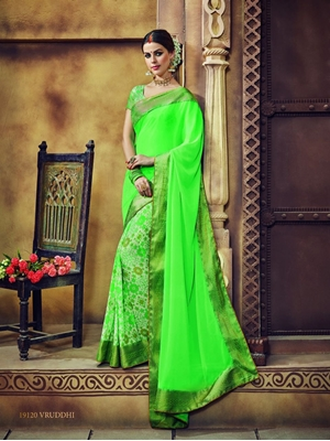 Picture of 19120NeonGreen Traditional Casual Wear Saree