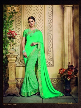 Picture of 19118ScreaminGreen Traditional Casual Wear Saree