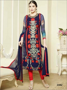 Picture of 2442 Navy Blue 2 In 1 Designer Suit