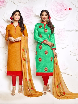 Picture of 2610FantaOrange and AquaGreen Designer Exclusive Fancy Salwar Suit