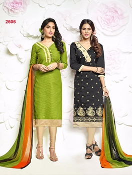 Picture of 2606YellowGreen and Black Designer Exclusive Fancy Salwar Suit