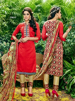 Picture of 19017Red Designer Exclusive Traditional Straight Suit