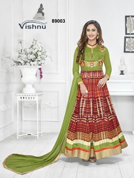 Picture of 89003OliveGreen Exclusive Fancy Designer Anarkali Suit