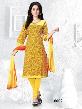 Picture of 6002Yellow Fancy Printed Designer Straight Suit