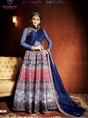 Picture of 13003DarkBlue Exclusive Fancy Designer Anarkali Suit