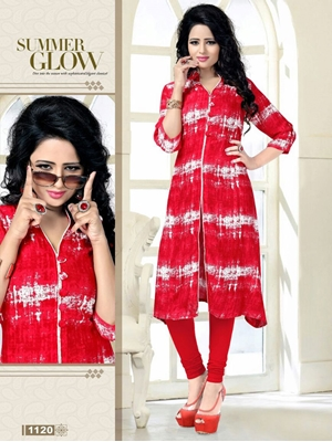 Picture of 1120Red Exclusive Fancy Function Wear Rayon Kurti