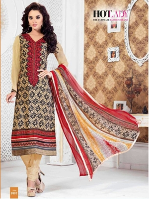 Picture of 9997Beige Exclusive Fancy Designer Straight Suit