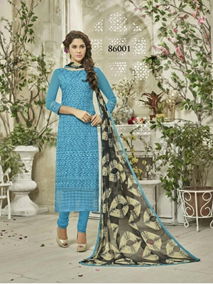 Picture of 86001FiroziBlue Exclusive Fancy Designer Straight Suit
