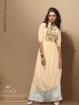 Picture of 104 Pearlish Cream Exclusive Fancy Party Wear Designer Kurti