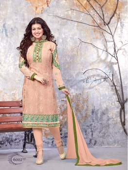 Picture of 6002Apricot Designer Occasion Wear Long Designer Straight Suit