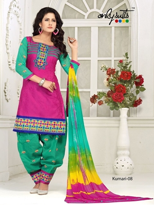 Picture of 08Green and magenta Designer Fancy Occasion Wear Satin Cotton Jacquard Salwar Suit
