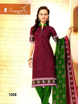 Picture of 1008Maroon Designer Daily Wear Cotton Salwar Suit