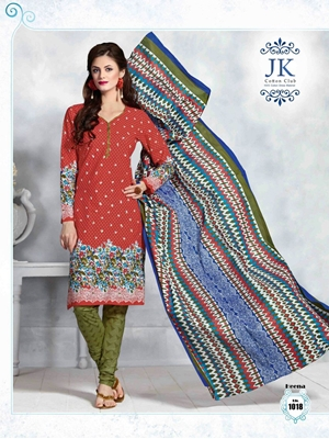 Picture of 1018 Red Designer Daily Wear Cotton Salwar Suit