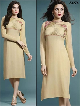 Picture of 33276 Beige Designer Stitched Kurti