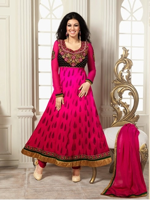 Picture of 1591Magenta Designer Fancy Exclusive Party Wear Semistitched Straight Long Anarkali Suit