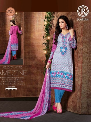 Picture of 208Multicolor Designer Traditional Wear Unstitched Straight Suit Dress Material