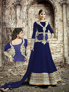 Picture of 006 Designer Dark Blue and Golden Embroidered Georgette Semistitched Wedding Wear Fancy Anarkali Suit