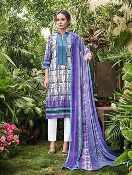 Picture of 1009Designer Multicolor and IndigoBlue Embroidered Printed Cambric Cotton Daily Wear Straight Suit