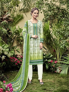 Picture of 1001Designer OffWhite and ForestGreen Embroidered Printed Cambric Cotton Daily Wear Straight Suit
