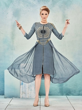 Picture of 8015 Gray and Ivory Designer Stitched Kurti