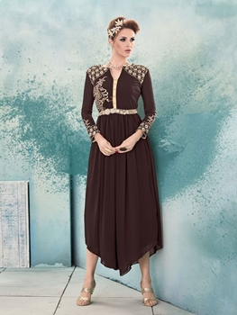 Picture of 8011 Bistre Brown and Ivory Designer Stitched Kurti