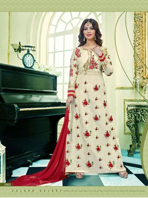 Picture of 1003Designer Ivory and Red Glace Cotton Party Wear Semistitched Designer Suit