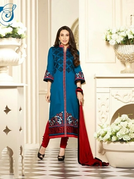 Picture of 6855DarkRoyalBlue and Red Embroidered Cotton Daily Wear Straight Suit Dress Material