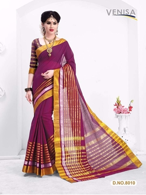Picture of 8010Magenta and Golden Cotton with Silk Designer Saree